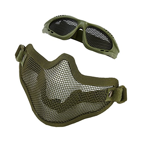 Metal Mesh Half Face Protective Mask with Airsoft Glasses for Outdoor Hunting CS Game (Green)