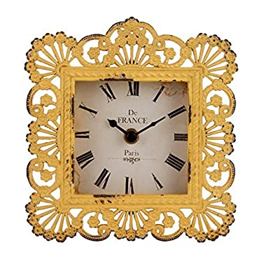 NIKKY HOME Shabby Chic Metal Peacock Feather Square Yellow Table Clock for Bedroom Home Decor,6 by 6.5-Inches, Yellow