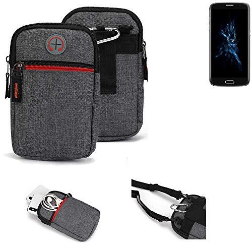 K-S-Trade® Gürtel-Tasche Für Bluboo Edge Handy-Tasche Schutz-hülle Grau Zusatzfächer 1x