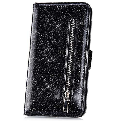 JAWSEU Kompatibel mit Samsung Galaxy J4 Plus Hülle Bling Glitzer Hülle Leder Flip Hülle Tasche Handyhülle Glänzend Diamant Lederhülle Brieftasche Wallet Schutzhülle Handytasche Ständer,Schwarz