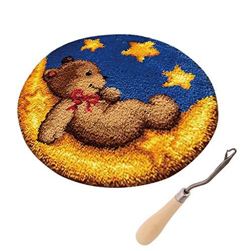 perfk Bär Knüpfset Haken Kit, Knüpfteppich DIY Handwerk Knüpfpackung zum Selber Knüpfen Teppich für Kinder, Erwachsene