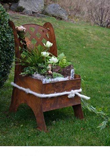 Rostikal Metall Stuhl/Edelrost Garten Deko Idee zum beflanzen oder dekorieren