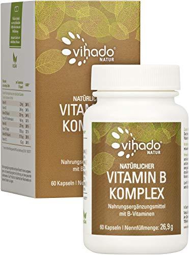 Vihado Natur Natürlicher Vitamin B Komplex – vegane B-Vitamine aus Quinoa Sprossen – hohe Bioverfügbarkeit – alle wichtigen B-Vitamine von Vitamin B1 bis B12 – 60 Kapseln
