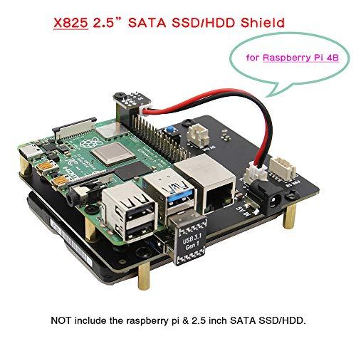 Geekworm Raspberry Pi 4 SATA Raspberry Pi Modelo B X825 2,5 Pulgadas SATA HDD/SSD Placa de expansión para Raspberry Pi 4B