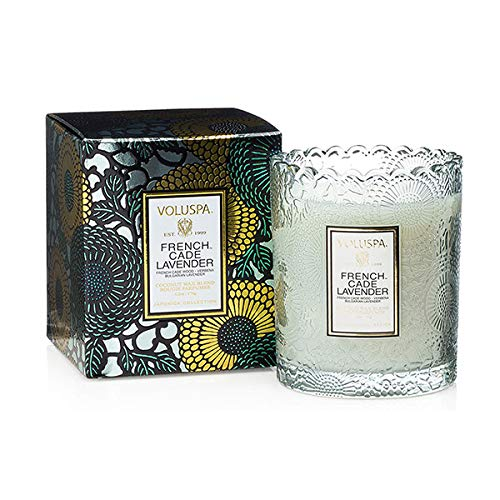 Voluspa Boxed Scalloped Candle-Pot French Cade and Lavender, 6.2 Ounce