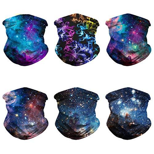 6 Packs Galaxy Mask Gaiter Tube Headwear, Washable Cloth Face Masks for Men Women Scarf Shield