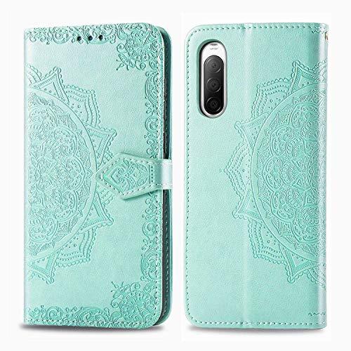 Bear Village Hülle für Sony Xperia 10 II, PU Lederhülle Handyhülle für Sony Xperia 10 II, Brieftasche Kratzfestes Magnet Handytasche mit Kartenfach, Grün