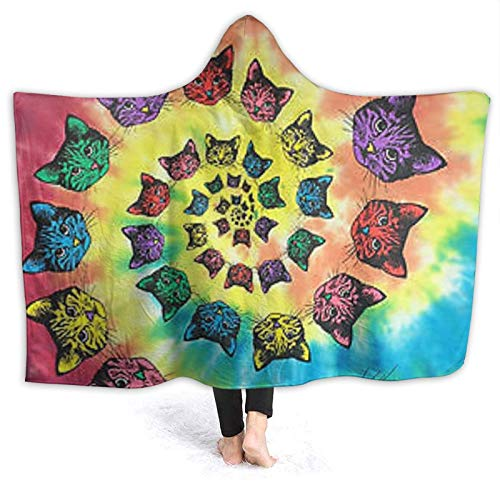 OLGCZM Spiral Cats Catopia Tie Dye Super Soft Light Weight Throw Wearable Hooded Blanket Sherpa Fleece Summer Quilt for Bed Couch Sofa