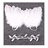 Distinct® Neugeborene Baby Silver Leaf Weißer Engel Flügel Kostüm Foto Fotografie Prop Outfits