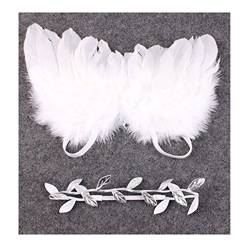 Distinct® Nouveau-né Bébé Silver Leaf Costume Blanc Ailes d'ange Photo Photographie Prop Tenues