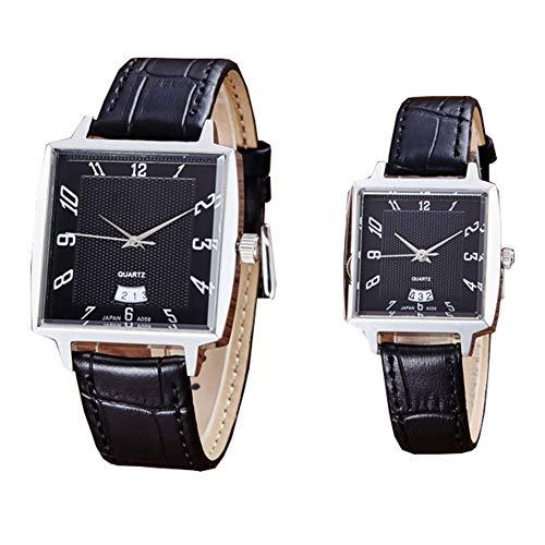Unisex horloge, quartz horloge met analoge weergave, rechthoekig roestvrijstalen polshorloge met bijpassende lederen band,B8