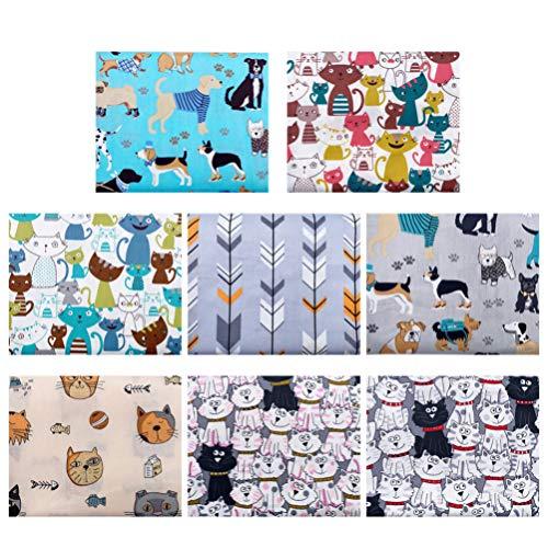 MILISTEN Nähstoffe Baumwollstoff Hunde Katze Bedruckte Stoff Patchwork Stoffbündel Stoffpaket für DIY Basteln Kunsthandwerk Nähen Mundschutz Scrapbooking Verpackung 8 Stück 50x40cm