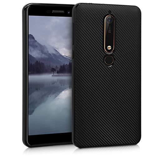kwmobile Cover Compatibile con Nokia 6.1 (2018) - Custodia in Silicone TPU - Back Case Protezione Posteriore Cellulare - Metallico Tech Nero