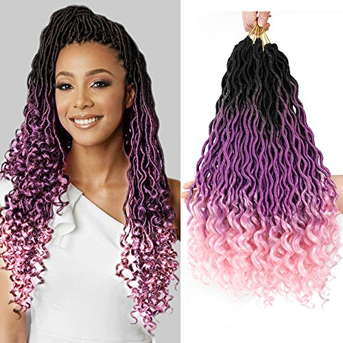 Ombre Wavy Faux Locs Corchet Hair with Curly Ends 5Packs/Lot (90grams/Pack) 20inch Pre Looped Goddess Locs Crochet Hair Synthetic Braiding Hair Extensions(1B/Purple/Pink)