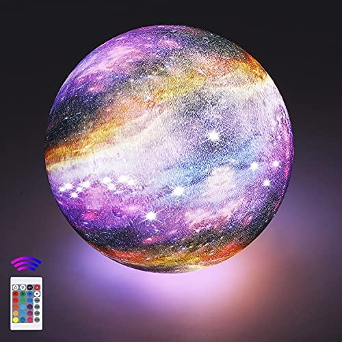 18cm LED Mond Lampe mit Fernbedienung,OxyLED Sternenhimmel Dekoleuchte 3D Mond Kunst LED RGB Mondlicht tragbares Nachtlicht mit Dimmbar,16 Lichtfarben wechsel,Weihnachtsgeschenk, Geburtstagsgeschenk