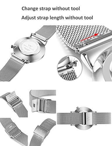 Welly Merck Dress Watch for Women 36MM Minimalist Swiss Quartz Sapphire Crystal Stainless Steel Analog Wrist Watch Custom Engraved Watches for Women.