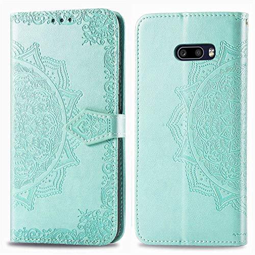 Bear Village Hülle für LG G8X ThinQ/LG G8X, PU Lederhülle Handyhülle für LG G8X ThinQ/LG G8X, Brieftasche Kratzfestes Magnet Handytasche mit Kartenfach, Grün
