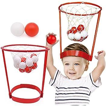幸せな バスケットボール おもちゃ 頭上 調節可能 ボール 投げる キャッチ 知育 親子ゲーム バスケットケースゲーム ヘッドバンドフープ 運動会 室内 室外 友達 家族 パーティー 誕生会 盛り上がる おもしろい