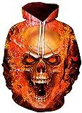 ZJIIXON Impresión de suéter 3D,Orange Flame Skull Loose Hippie Pullover con Capucha Atlético Casual con Bolsillos Pareja Uniforme de béisbol para Estudiante Top Coat-As_Shown_3XL