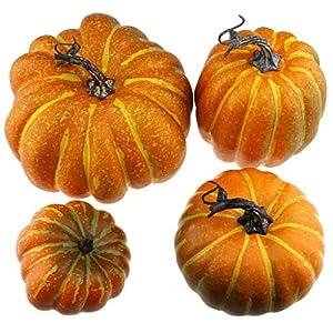 gresorth 4 pcs fake pumpkins artificial vegetable fall autumn halloween christmas decoration silk flower arrangements