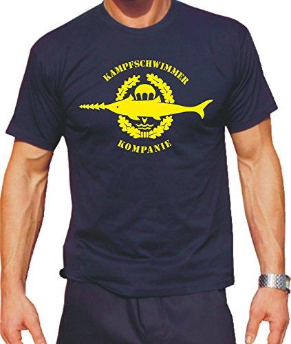 Feuer1 T-shirt Navy Flotteur de Combat avec emblème jaune 3XL bleu marine