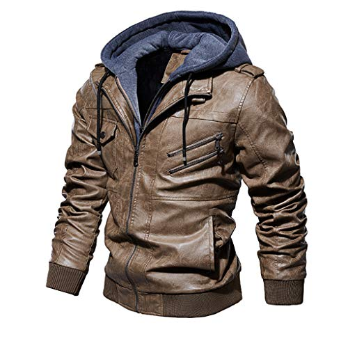 Landscap Men's Leather Motorcycle Jacket Hoodie Zipper Fashion Vintage Casual Outdoor Windbreaker Jacket Coat (Khaki, L)
