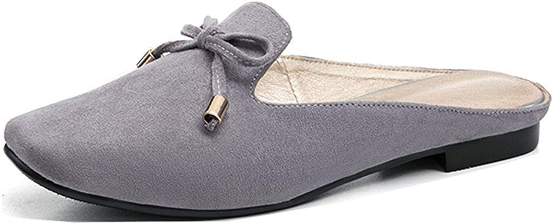 Unm Women's Closed Toe Slide Sandals - Driving Cars Flats shoes - Slip On Bowtie Comfort