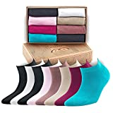 Bambooven Women's Premium Bamboo Ankle Casual Socks 8pk. Gift Box (Mixed Color - 550)