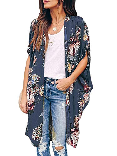 Womens Floral Beach Cover Up Kimono Open Front Cardigans Short Sleeve Draped Flowy Duster Cape Blue