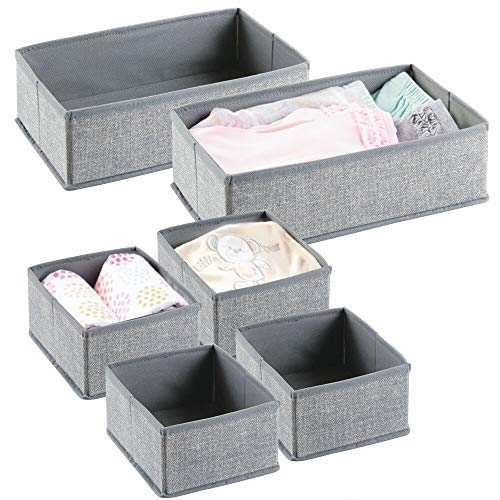 mDesign Soft Fabric Dresser Drawer and Closet Storage Organizer for Kids/Toddler Room, Nursery, Playroom, Bedroom - Textured Print - Organizing Bins in 2 Sizes - Set of 6 - Gray