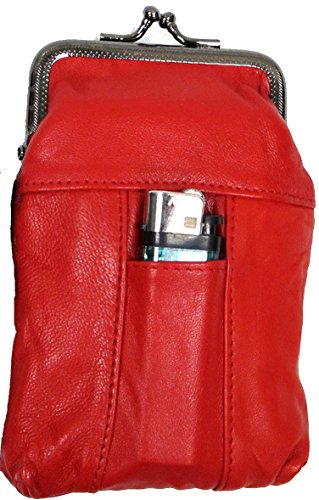 2pc Lot 100's RED Women Lady's Soft Leather Cigarette Case Pouch Fit 100mm Sold by 2pc for $11.99