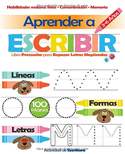 Aprender a Escribir: Libro Preescolar para Repasar Letras Mayúsculas 3-6 Años: Actividad de Escritura