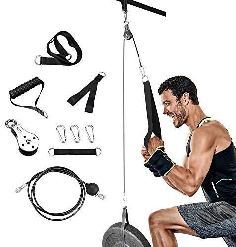 Elikliv DIY Polea Cable Máquina Sistema de accesorios Conjunto con pasador de carga Correa de tríceps Equipo de gimnasio en casa Accesorios de entrenamiento