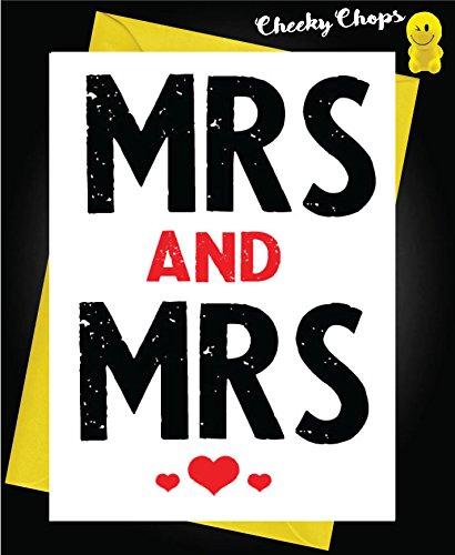 Divertidas tarjetas de boda gay LGBT Cheeky - Mrs and Mrs L13