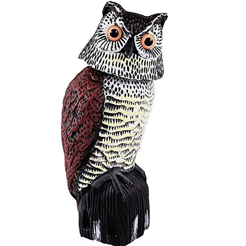 Owl Decoy,Plastic Owls to Scare Birds Away,Fake Owl to Keep Birds Away,Garden Owls to Scare Squirrels,Owl Scarecrows for Bird Control,Bird Deterrent with Rotating Head for Garden Yard Outdoor