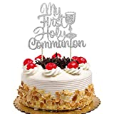 My First Holy Communion Cake Topper for Kids Birthday, Baby Shower, Wedding Baptism Christening Party Decorations Silver Glitter