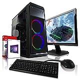 AMD Ryzen3 4x3.4GHz Full-HD Silent Gaming Komplett PC-Paket mit 24 TFT - Monitor/Tastatur Maus | 16GB DDR4 | Radeon RX550 4GB GDDR5 | 256GB SSD + 1TB | Win10 | WLAN | Gamer PC Computer Rechner #6605