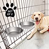 PETMAKER Stainless-Steel Hanging Pet Bowls for Dogs & Cats-Cage, Kennel, & Crate Large Feeder Dishes for Food & Water-Set of 2, 48oz Each