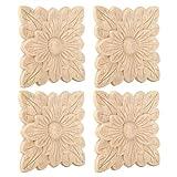 Wifehelper Apliques de Madera, Piezas Patrón de Flores Hermosas Apliques tallados en Madera Decoración de Muebles Accesorios para Puertas de jardín