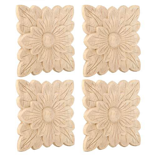 Duokon Apliques de Madera para el hogar 4 Piezas Hermoso patrón de Flores Apliques tallados en Madera Muebles Accesorios de decoración de Puertas de jardín