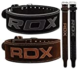 RDX Powerlifting Belt for Weight Lifting Gym Training - Double Prong Leather Belt
