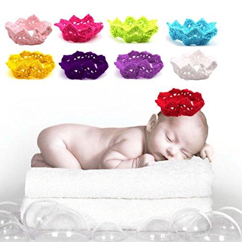 HuntGold 1 X Bébé Enfants en forme de couronne à la main en laine à tricoter handband coiffe (Rose)