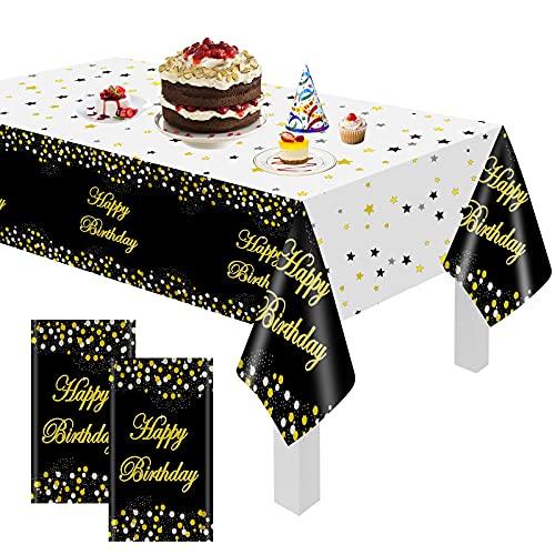 Nappe de fête GRESAHOM pour Table Rectangle, 2 pièces Nappe imperméable Anniversaire confettis Or Noir 54'' x 72'', Ensemble Tente à bière, Nappe, Linge de Table, Restauration, fête d'anniversaire