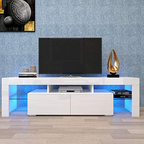 TV Stand Modern TV Cabinet Minimalist Living Room with High-Gloss LED Lights TV Cabinet