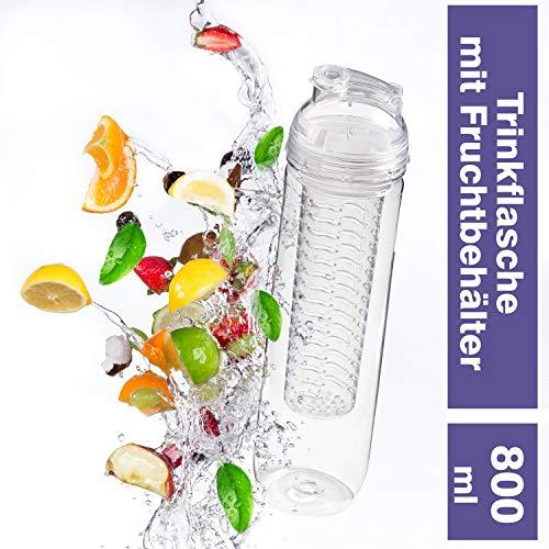 Uakeii Trinkflasche mit Früchtebehälter -Frutto- für Fruchtschorlen 800 ml BPA-Frei Drink Bottle Watter Bottle Tritan Wasserflasche (Transparent)