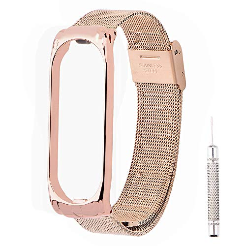 OLLIVAN Bands for Xiaomi Mi Band 4 Wristband Strap, Stainless Steel Metal Replacement Accessories Watch Straps Wristbands Bracelets Adjustable Wrist Straps for Mi Band 4 -No Tracker