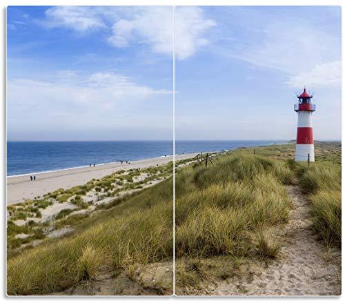 Wallario Herdabdeckplatte/Spritzschutz aus Glas, 2-teilig, 60x52cm, für Ceran- und Induktionsherde, Am Strand von Sylt Leuchtturm auf der Düne Panorama