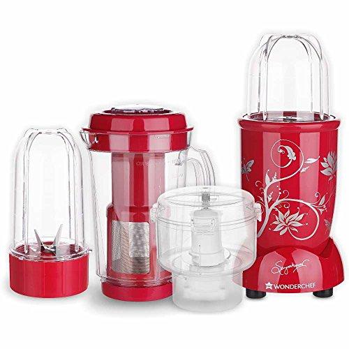 Wonderchef Nutri-Blend, 400W Complete Kitchen Machine (CKM) with 3 Jars (Mixer, Grinder, Juicer, and Chopper) - Red