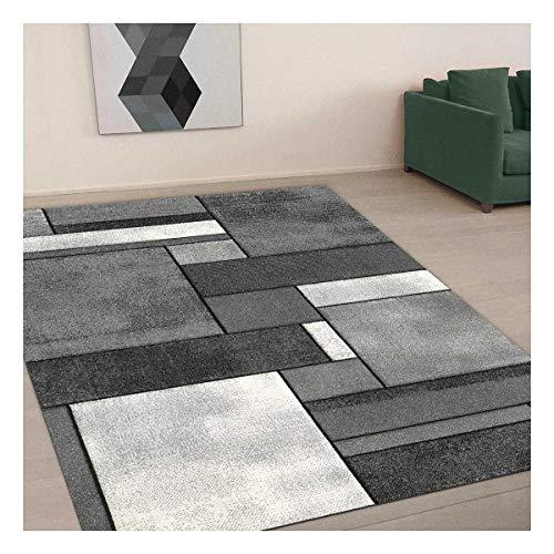 UN AMOUR DE TAPIS 80x150 Tapis Salon Moderne Design Géométrique Poils Ras - Petit Tapis Salon Rectangulaire - Tapis Chambre Turquoise - Tapis Gris