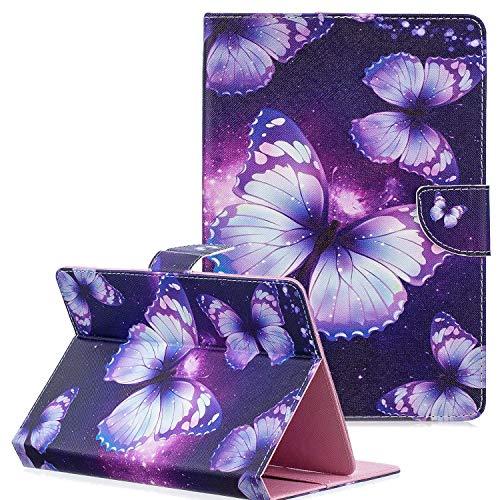 Coopts - Funda de Piel sintética para Tablet de 9-10 Pulgadas con Tarjetero para iPad 9.7 2018 2017/iPad 2 3 4/Samsung Galaxy Tab A 10.1 T510/Tab A 10.5 T590/Fire HD 10 A-Purple Butterfly